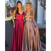 Satin Open Back Prom Dress Spaghetti Straps High Slit Evening Formal Dress