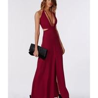 Missguided - Bella Red Chiffon Strappy Maxi Dress Red