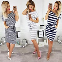 New Summer Women Dresses Casual Short Sleeve O-Neck Striped Plus Size Slim Bodycon