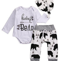 3Pcs 2016 baby Boysclothes Bear letter Pattern long sleeve Romepr+ pants +Hat 3pcs suit newborn baby boy clothing set