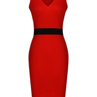 V-Neck Sleeveless Pencil Bodycon Midi Dress