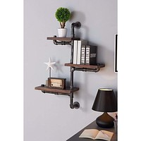 "30"" Orton Industrial Pine Wood Floating Wall Shelf In Gray And Walnut-Armen Living"