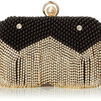MG Collection Isolde Pearl Fringe Clutch
