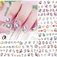 12 Sheets Hello Kitty Nail Art Decorations Sticker Cartoon Water Decals Nails Sticker Art Transfer Foil Manicure Tools