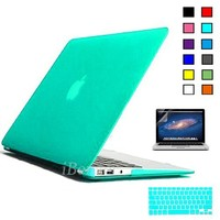 """iBenzer Macbook Air 13"""" Plastic Hard Case, Keyboard Cover, Screen Protector, Turquoise"""