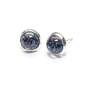 Multi coloured Glitter and Glamour ear studs