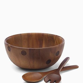 deco dot wood salad bowl and server set