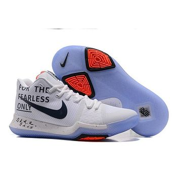 Nike Kyrie Irving 3 PE Men Basketball Sneaker For The Fearless Only White Black Red Sports Shoes