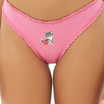 Cat Graphic Thong Panty