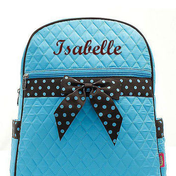 Turquoise and Brown Polka Dot Monogrammed Backpack  Monogram Quilted Backpack  Personalized Backpack