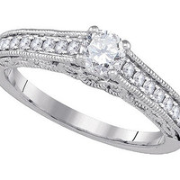 Diamond Bridal Ring with 0.40ct Center Round Stone in 14k White Gold 0.68 ctw