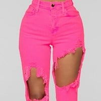 Explosive hot sale high waist high elastic ripped flared jeans 9020