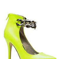 Oh So Fierce Neon Yellow Pointed Heels