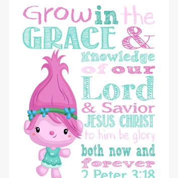 Poppy Trolls Christian Nursery Decor Print, Grow in Grace and Knowledge, 2 Peter 3:18