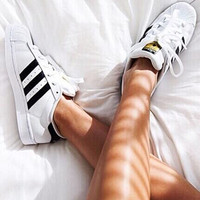 """""""Adidas"""" Fashion Shell-toe Flats Sneakers Sport Shoes white black golden"""