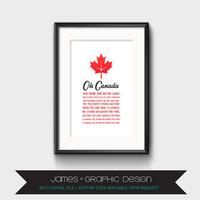 Oh Canada Day Wall Art, Red Maple Leaf, Oh Canada Song Lyrics, Professionally Designed, Instant Digital Download, 8x10