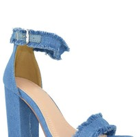 Jagged And Edgy Heels - Light Denim