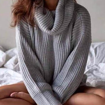 Solid Color Lantern Sleeve Turtle Neck Sweater