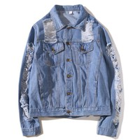 Retro Fashion Women Denim Cardigan Jacket Coat