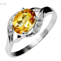 Sterling Silver Natural Citrine Ring Gemstone Rings