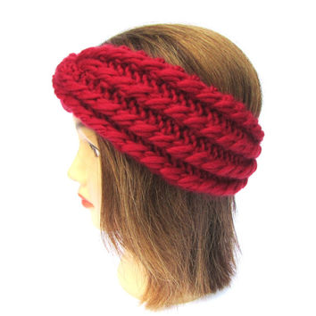 Red hand knit headband  - chunky knit turban - knitted hair accessory - 100% wool ear warmer - warm winter headband - birthday gift for her