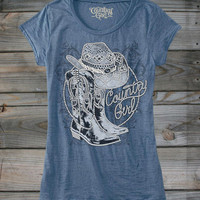 Juniors Country Girl ® Boots Rhinestones Burnout Tee