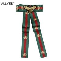 ALLYES  Bow Brooch For Women Fabric Strip Elegant Insect Occupation Shirt Collar Tie Embroidery Bee Bowknot Brooches Pin Jewelry