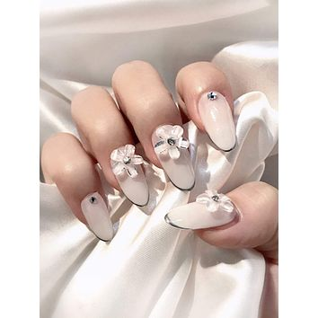 24pcs Flower Decor Fake Nails & Double Sided Tape