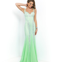 Honeydew Green V-neck Sweetheart Beaded Chiffon Gown