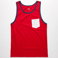 Blue Crown Tri Color Contrast Mens Pocket Tank Red  In Sizes