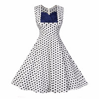 Vintage Summer Women Dresses Sexy Vestidos Plus Size Retro Sleeveless Dot 1950s 60s Audrey Hepburn Pinup Cocktail Party Dresses