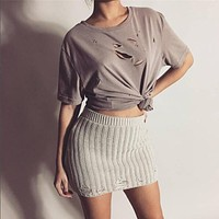Hollow out bodycon Dress and shorts