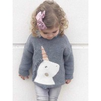 Unicorn Gray Knitting Pullover Sweater for Babies Toddlers