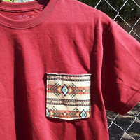 Navajo Aztec Tribal Burgundy Pocket Tee