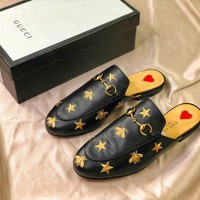 Gucci Princetown Embroidered Leather Slipper Black Sandals - Best Online Sale