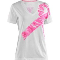 Under Armour Women's Power in Pink Camo Ribbon V-Neck T-Shirt