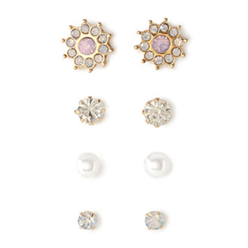 FOREVER 21 Mixed Rhinestone Stud Set Pink/Clear One