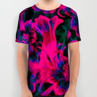 Pink Space Flora All Over Print Shirt by Page394