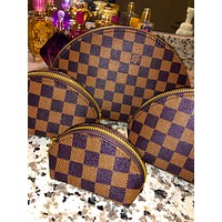 LV Tide brand classic old flower female makeup bag shell bag four-piece Coffee Tartan