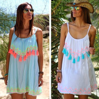 Spaghetti Strap Tassel Beach Dress