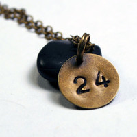 Personalized Number Necklace - Custom Brass Necklace / Tiny Tag