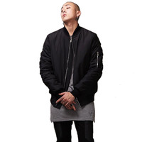 Hot Sell Fashion Hi-Street Mens Military Style Bomber Jacket Black Mens Slim Fit Hip Hop Varsity Baseball Jacket Q1646