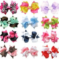 """HipGirl Boutique Girls 12pc Set Small 3"""" Spike Hair Bow Alligator Clips, Barrettes."""