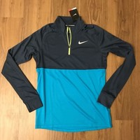 Men's Nike Racer Half-Zip Long Sleeve Shirt Running Gray Blue 648588-461 NWT
