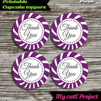 """Thank you - Cupcake toppers -  Purple - Instant Download - Party printable - Party favor - Candy Bar - 5 cm / 2"""""""