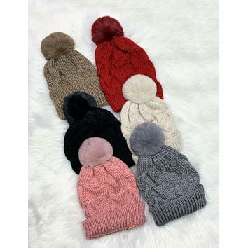 Crochet Pom Pom Beanie - Multiple Colors