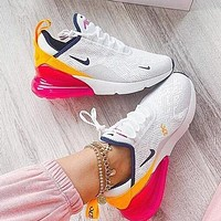 Air Max 270 Nike Hot Sale Women Casual Air Cushion Sport Running Shoes Sneakers White&Yellow&Pink