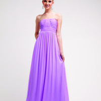 Fun Flirty Strapless Chiffon Bridesmaid Dress Pleated Bodice Empire Waist