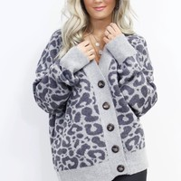 Berlin Button Down Gray Leopard Cardigan