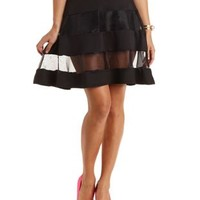 Organza-Striped Skater Skirt by Charlotte Russe